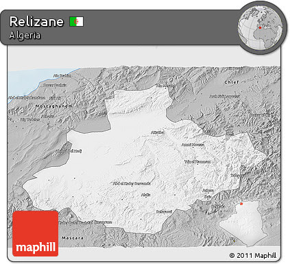 Gray 3D Map of Relizane