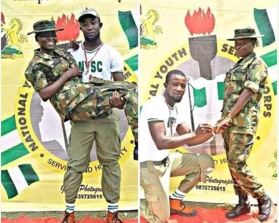 LOVE IN THE AIR!! Corper Proposes To Female Soldier At Ebonyi NYSC Camp (Photos)