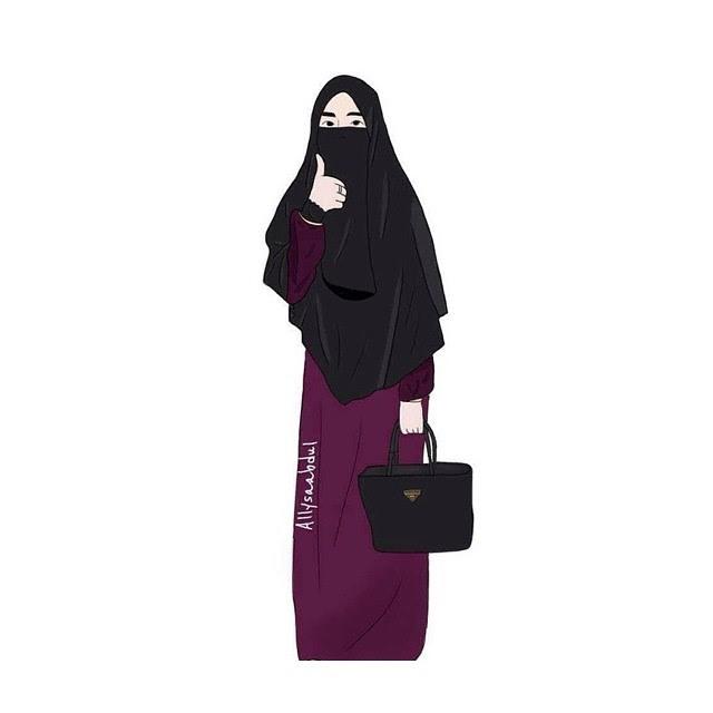 Gambar Kartun Muslimah Bercadar Dan Berkacamata: 50 Gambar Kartun Muslimah Bercadar Cantik Berkacamata