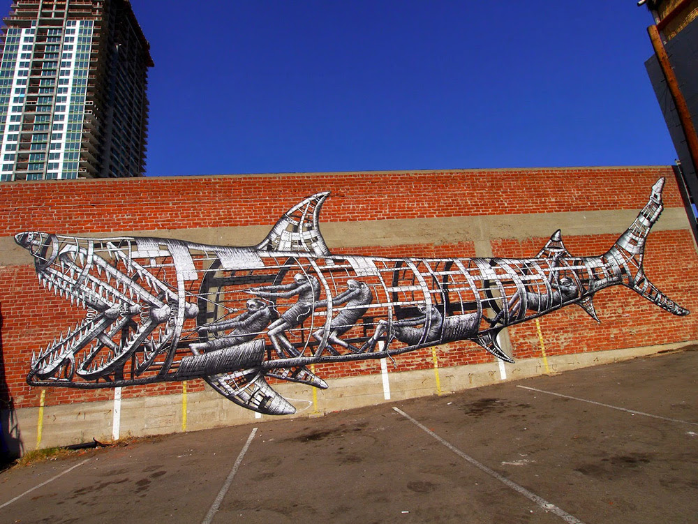 A Mechanical Shark Mural by Phlegm in San Diego street art sharks San Diego murals