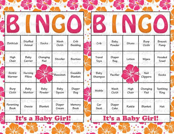 60 Baby Shower Bingo Cards - DIY Printable Party for Baby Girl ...