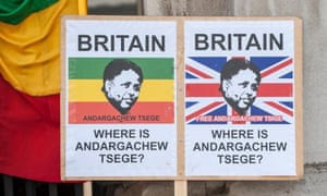 Placards demand the immediate release of UK citizen Andargachew Tsige, also sometimes spelled Tsege, who was given a death sentence in his absence.