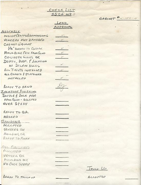 JBL 4343 check list