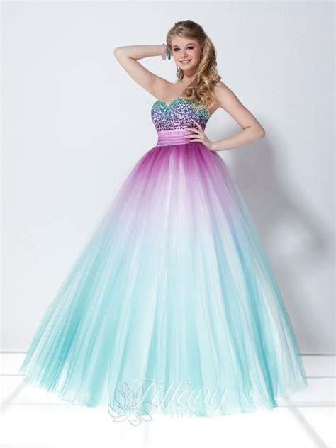 Strapless light blue and purple prom dress   Brenna Prom