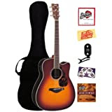 Yamaha FGX730SC Solid Top Cutaway Acoustic-Electric Guitar Bundle with Gig Bag, Tuner, Instructional DVD, Strings...
