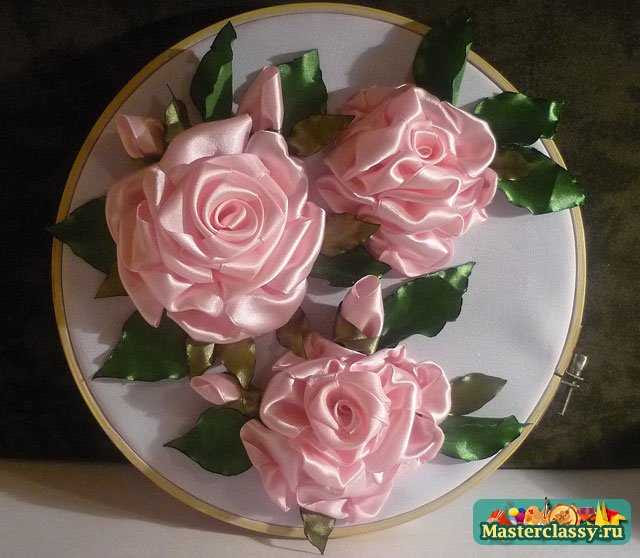 Вышивка лентами роза. Мастер класс