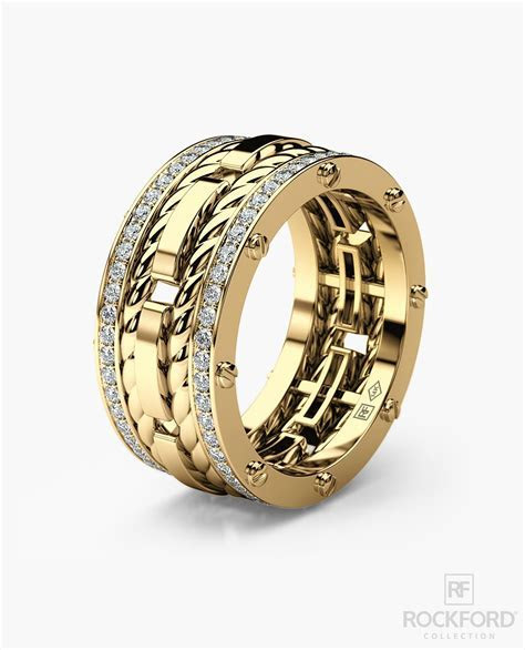 ROPES Mens Gold Wedding Band with Diamonds ? Rockford