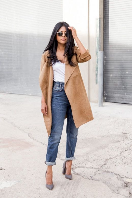 Le Fashion Blog Blogger Style Rounded Ray Ban Sunglasses Suede Camel Coat White Tshirt Rolled Boyfriend Jeans Grey Pointed Toe Heels Via A Walk In Wonderland