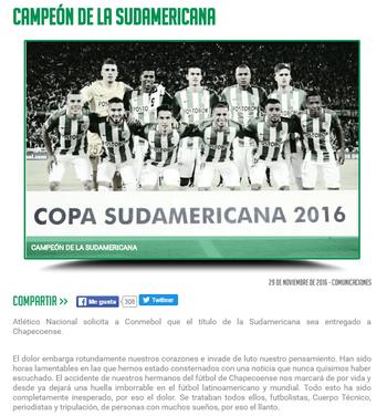 Atlético Nacional pede título à Chapecoense (Foto: Reprodução / Atlético Nacional )