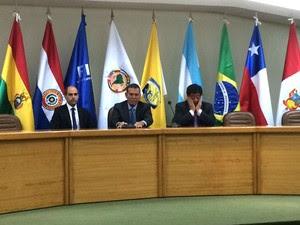 Sergio Jadue, Juan Angel e Luis Bedoya, conmebol (Foto: Martin Fernandez)