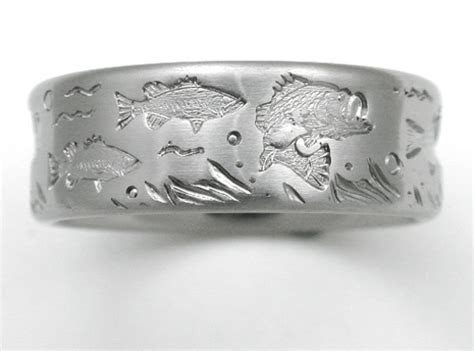 DeSoto 3 titanium ring with bass   Titanium Wedding Rings