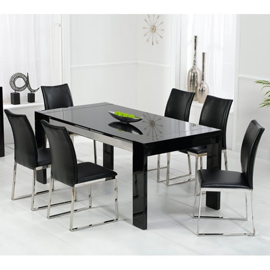 Lexus High Gloss Black Glass Dining Table And 6 Knight