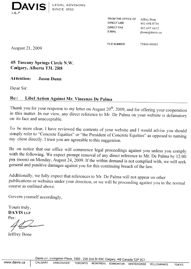 Second Letter From Vincenzo De Palma's Lawyer Claiming Libel