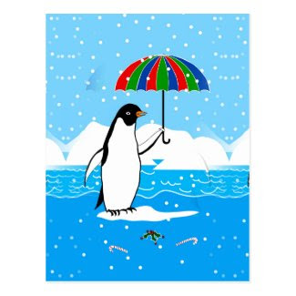 Penguin in the Snow Art on Postcard