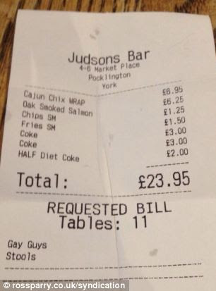 Staff at Judson's Bar were left red-faced after they gave a customer a receipt with a description of him and his friend - as 'gay guys' so that colleagues knew where to deliver their food