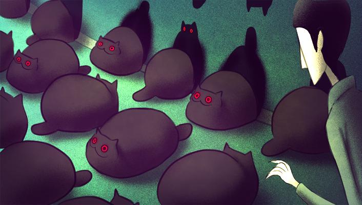 becdecorbin:  meawbin:  Creepy Cat 11-20  For a lighter moment.