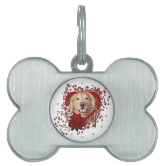 Valentines - Key to My Heart - Golden Retriever - Pet Name Tags