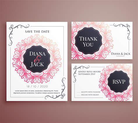 wedding invitation card template design set   Download