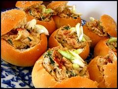 Caramelized Onion-Bacon Dip in Mini Bread Bowls