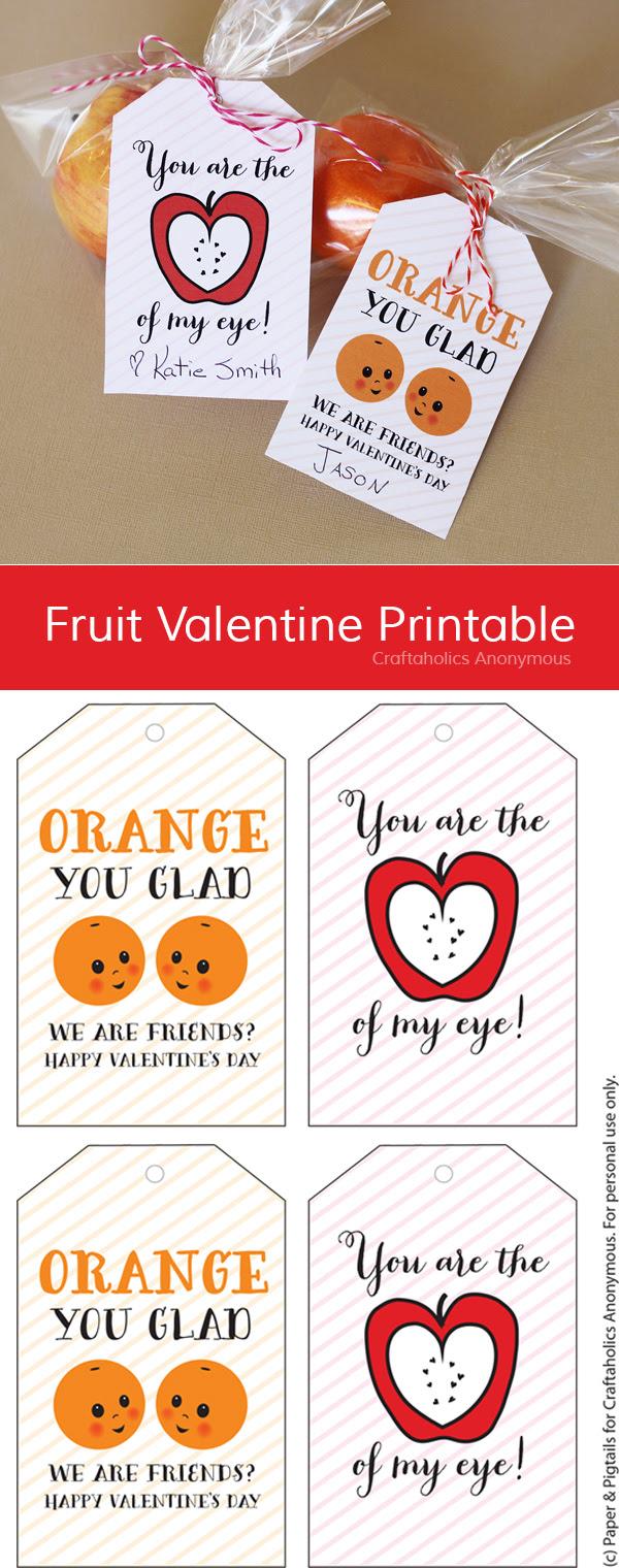 Free Fruit Valentine Printable || Kids Valentines Printable
