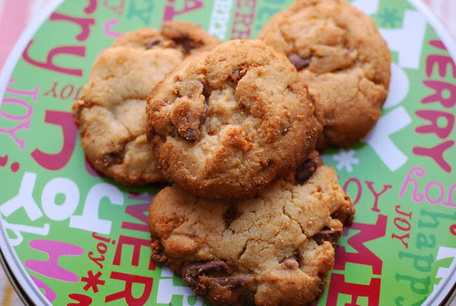 Peanut butter-toffee chip-chocolate cookies