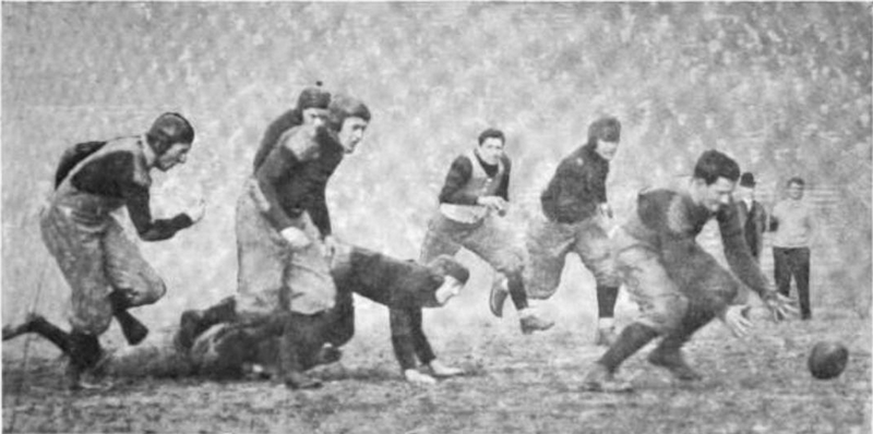 File:Michigan - Penn game, 1910, Cole attempts to recover the ball after Scott's fumble.png