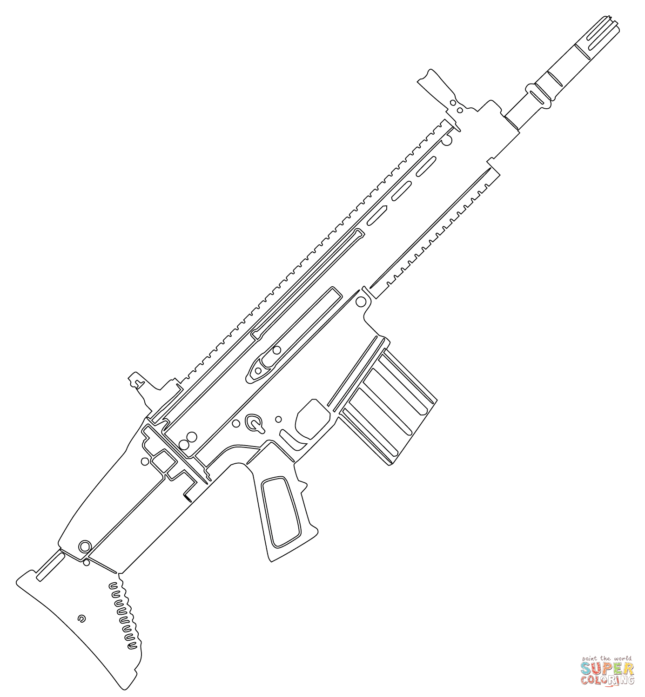 Disegno di Fucile dassalto FN SCAR da colorare  Disegni da colorare e stampare gratis