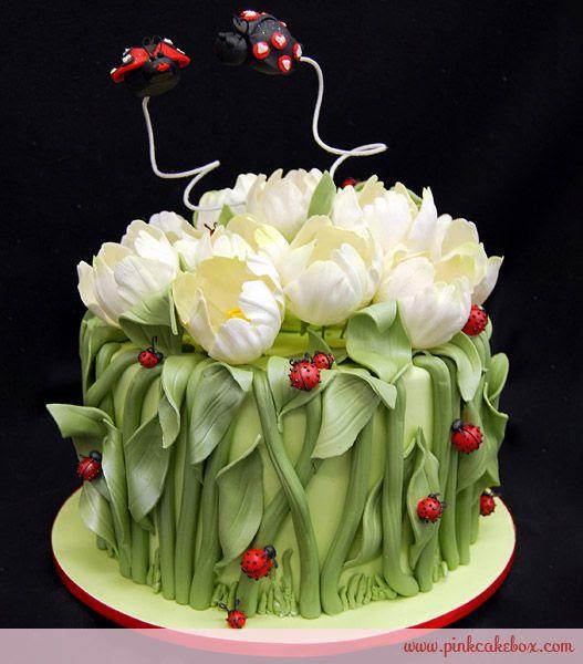 tulip and ladybug cake...too cute!