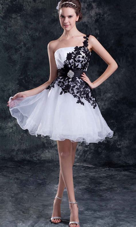 Black and White Short Tulle Princess Graduation Dress