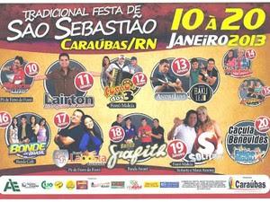 Folden de divulgação da Festa em Caraúbas (Foto: Divulgação)