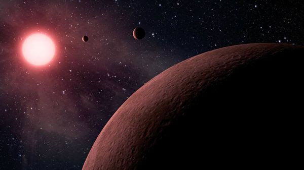 An artist's concept of three exoplanets orbiting their parent star.