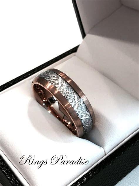 brushed meteorite inlay ring engagement rings