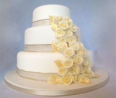 Champagne Gold 3 Tier Wedding Cake   CakeCentral.com