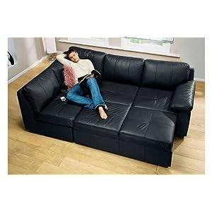 Alonza Corner Suite Sofa Bed Black Leather Sofa Lh