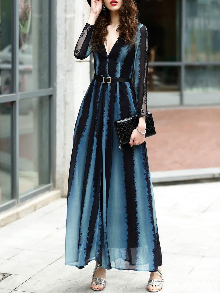 Belted Color Block Skew Neck Maxi Dress