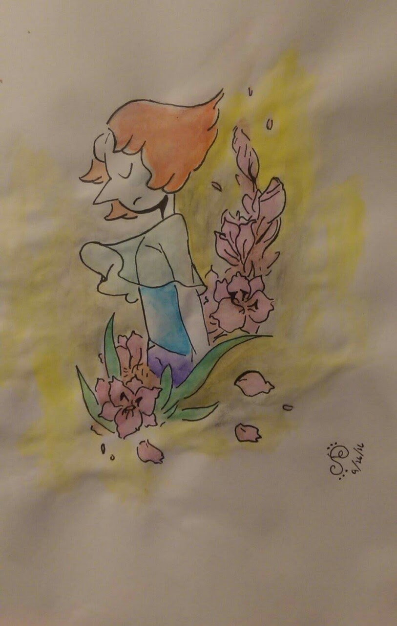 A watercolor painting of pearl I did in art class