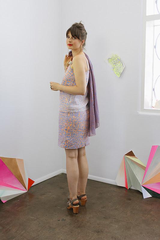 Tank and Skirt in Raku Print Linen