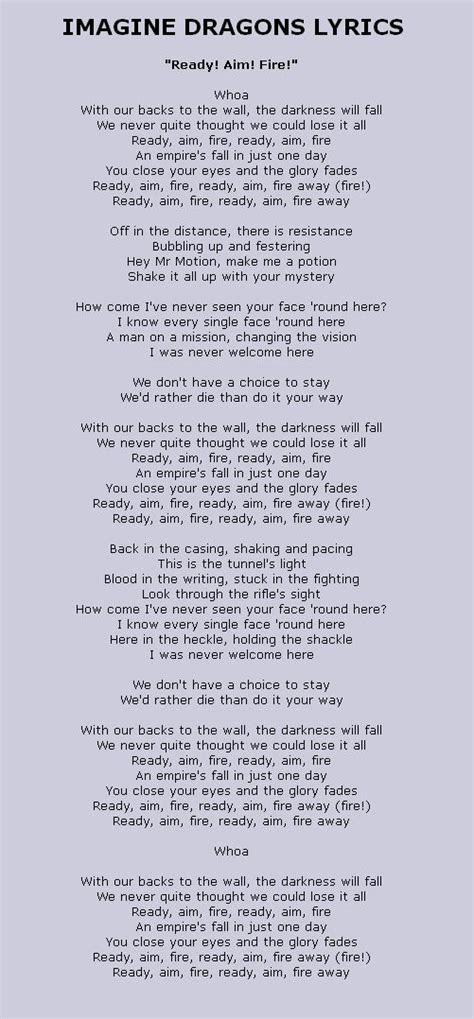 lyrics  ready aim fire  imagine dragons   iron