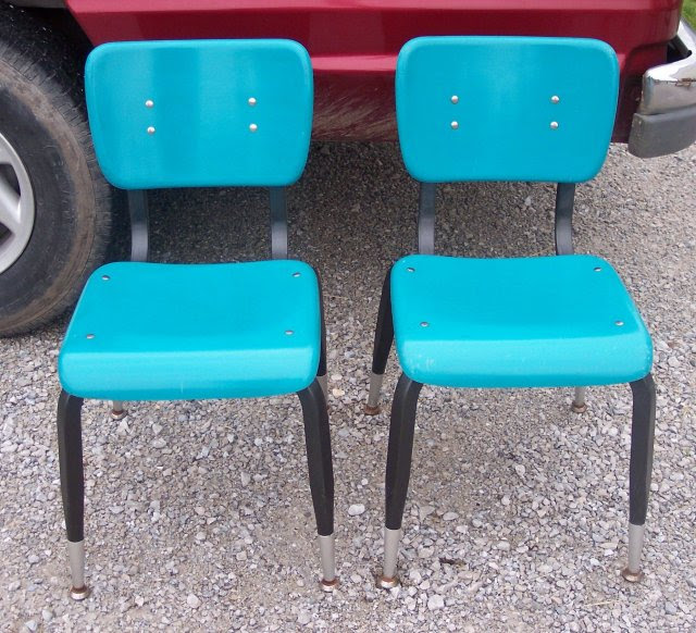Pair of Turquoise Retro Desk Chairs/Sidechairs For Sale | Antiques ...