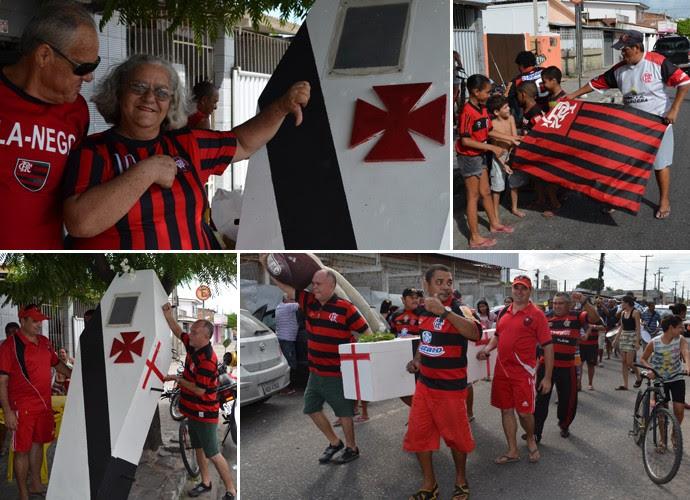 Flamenguistas em João pessoa fazem velório simbólico do Vasco (Foto: Yordan Cavalcanti / GloboEsporte.com/pb)