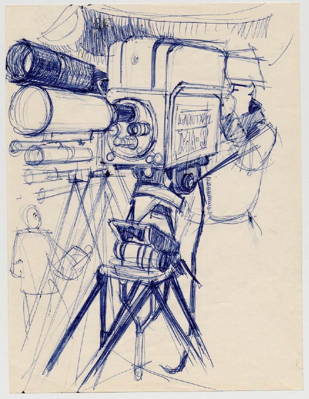 TV Camera and Cameraman pen sketch