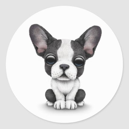 Cute French Bulldog Puppy Dog on White Sticker