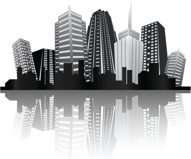 Black with white city building design vector Free vector ...