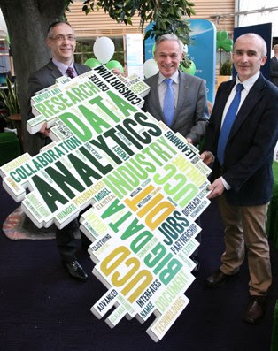 L-R: Gearoid Mooney, ICT Commercialisation Director, Enterprise Ireland ; Minister for Jobs Enterprise and Innovation, Richard Bruton, TD. and Pádraig Cunningham, UCD, CeADAR