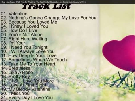 Best Love Songs Of All Time for Wedding   The Best English