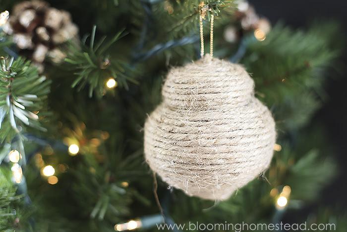 Beautiful Rustic DIY Jute Ornaments- super easy!