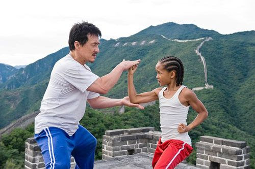 Mr. Han (Jackie Chan) teaches Dre Parker (Jaden Smith) kung-fu atop the Great Wall of China in THE KARATE KID.
