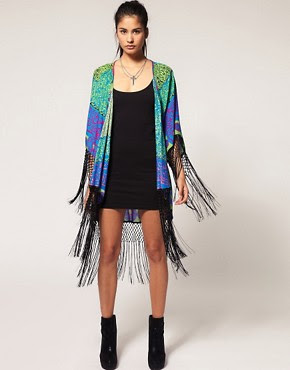 Image 1 ofReverse Kaftan with Fringing in Techno Tribal Print