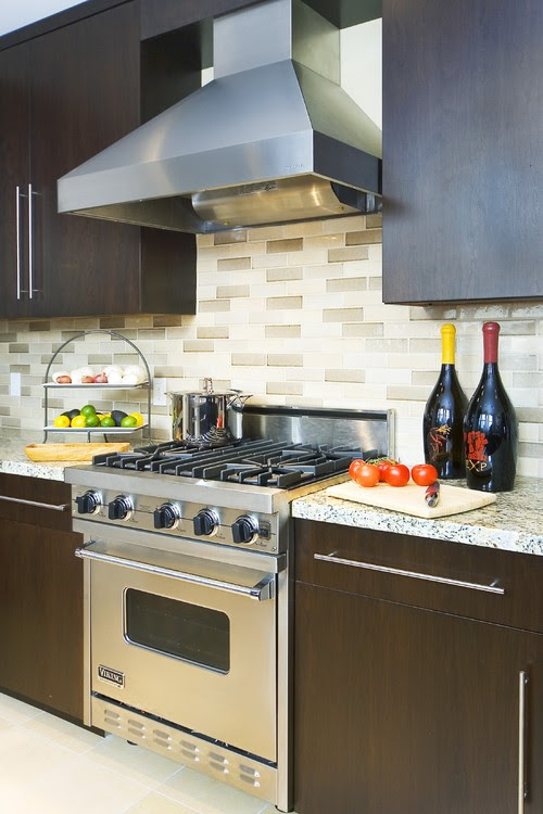 Backsplash with cherry cabinets & dark grey granite counter - Houzz