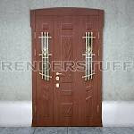 Door 3d model entrance with glass and bars